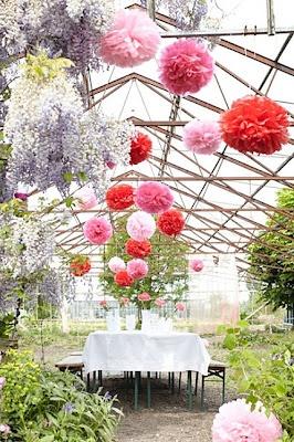 pom poms: Idea, Paper Pom Pom, Greenhouse, Wedding Decor, Pompom, Hanging Flower, Green House, Tissue Paper, Gardens Parties