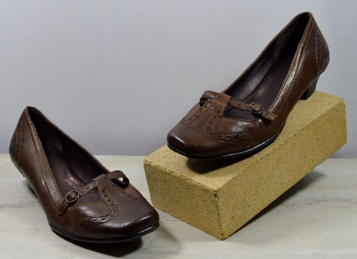 Born Brown Leather Brogue Mary Jane Heels Women's Size 6.5 M #Brn #MaryJanes #WeartoWork