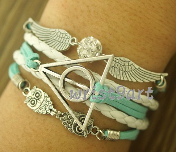 Harry Potter bracelet - Deathly Hallows,crystal bracelet,owl wing bracelet,antique silver,vintage style,charm bracelet,mint bracelet