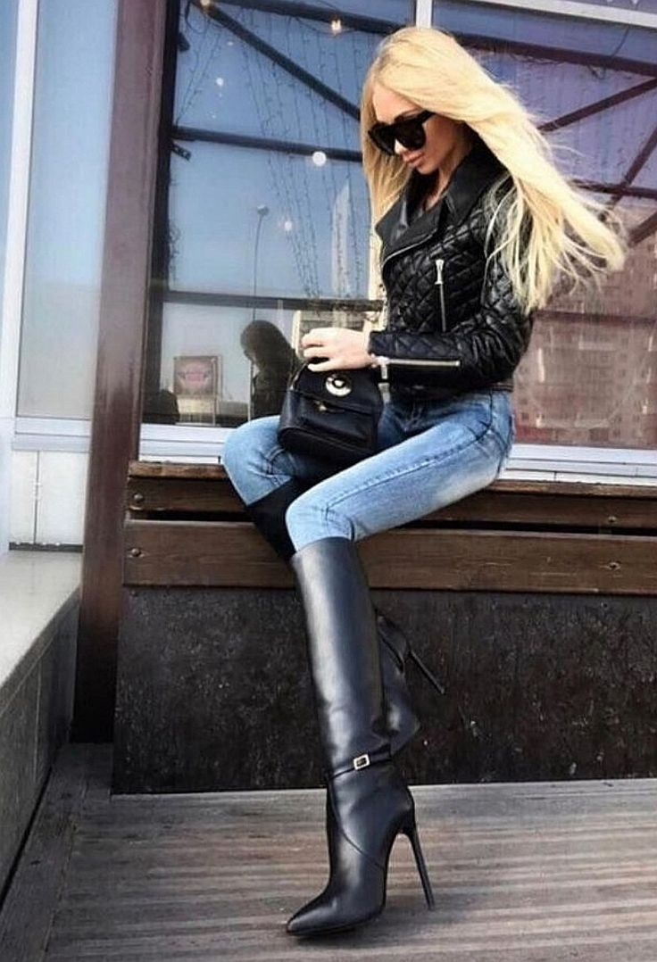 Pin By Sylwester Smaglowski On Chaussures High Knee Boots Outfit Womens Knee High Boots Boots Outfit