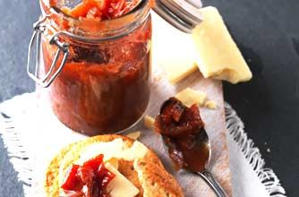 Tomato chutney recipe - this condiment takes under two hours to make, and goes wonderfully with cheese! With just 7 ingredients you have no excuse for not trying it!