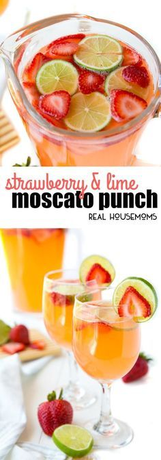 Strawberry & Lime Moscato Punch has the sweet flavor of your favorite wine with …