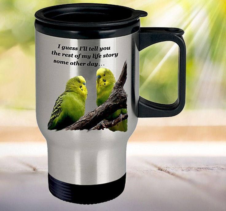 Budgie Meme Travel Mug, Parakeet picture, Funny Meme Mug, Gift for Budgie Mom or Dad or Parakeet Lover, Bird Cup, Budgie Print, 14oz (414ml) by PortunaghDesign on Etsy