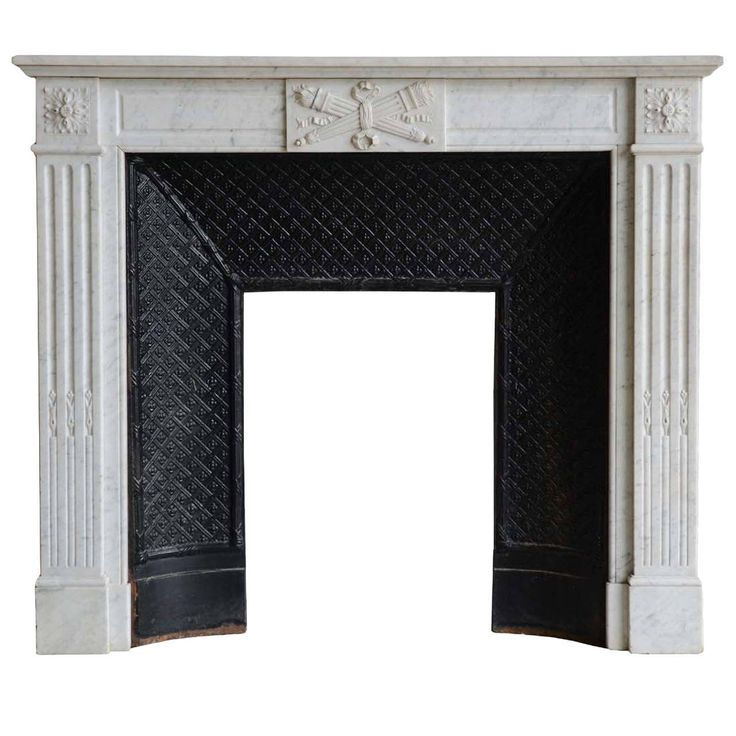 French Louis the 16th Style White Marble Fireplace, 19th Century
