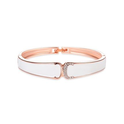 Fashion 18K Gold Plated Enameled Bangle with AAA Zircon, Rose Gold; Size:about 190mm in perimeter, 12mm wide.<br/>Priced per 1