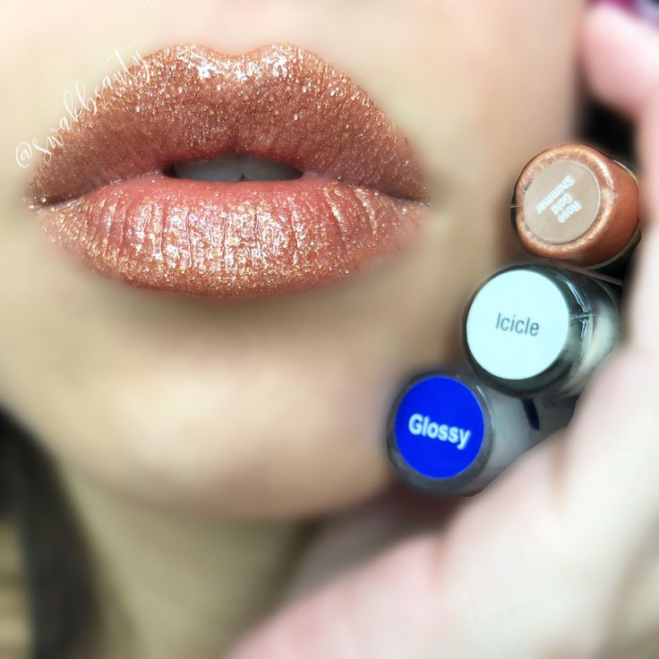 ROSE GOLD SHIMMER SHADOWSENSE ON LIPS! Icicle as base and