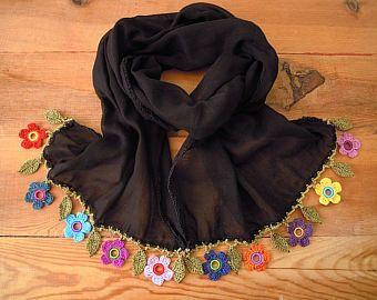 beige cotton scarf with crochet flower trim