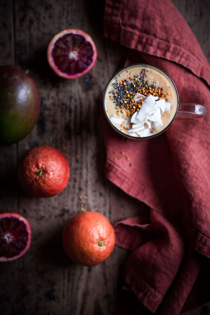 [ made by mary ] Mango Coconut Blood Orange Smoothie with Almond Butter, Chia Seeds & Bee Pollen