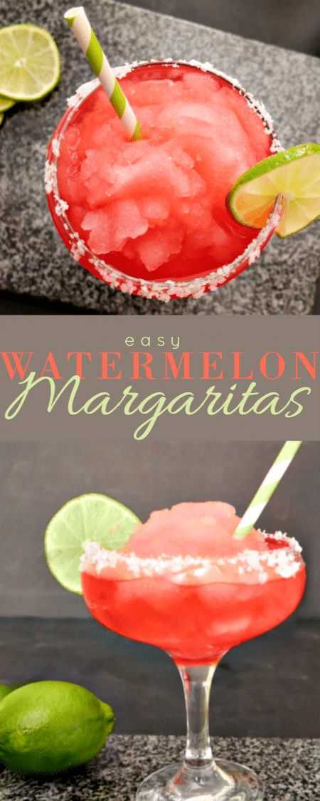 Easy Frozen Watermelon Margarita Recipe - make in just minutes with ice, Tropicana Watermelon, tequila, limeade concentrate & Triple Sec - so good!