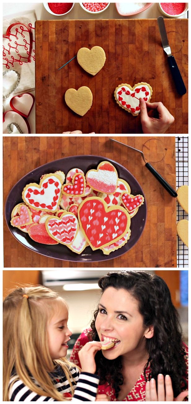 HGTV Crafternoon: Four Easy #Valentine's Day Cookie Decorations (http://blog.hgtv.com/design/2014/02/04/easy-valentines-day-cookie-decorations/?soc=pinterest): Valentine Cookies, Cookies Decor, Heart Cookies, Easy Cookies