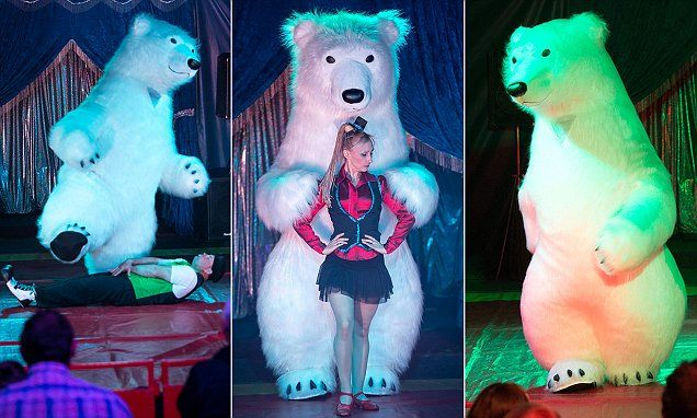 Angry grandmother launches one-woman campaign against circus's 'cruel' dancing polar bear - even though it's actually a man in an inflatable costume