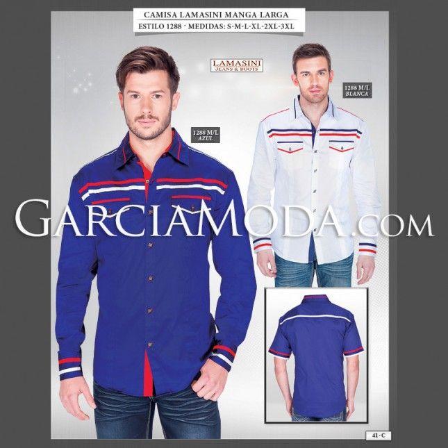 Camisa Lamasini 1288 Tela lisa con franjas bicolor en pecho, bolsillo y manga. Manga Larga