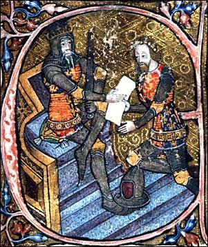 """Edward III and Edward the Black Prince. King Edward III grants Aquitaine to his son Edward, the Black Prince.Initial letter """"E"""" of miniature, 1390; British Library, shelfmark: Cotton MS Nero D VI, f.31"""