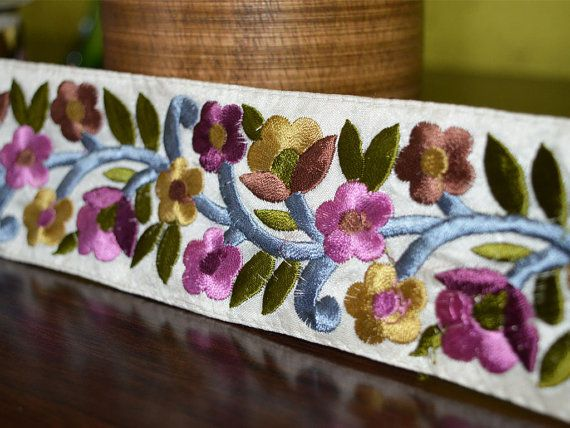 Embroidered lace and border in Lavender, Pewter, Gold Embroidered floral vines, Lace and Trims, Floral Pattern/silk fabric, silk threads