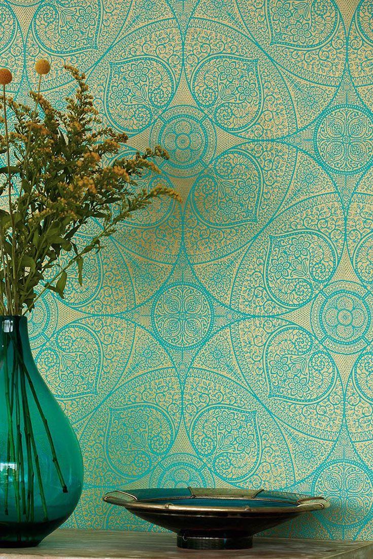 Tapete Yasmin Turkis Orientalischer Traum In Goldenen Ornamenten Ornamente Orientalisch Indisch Bollywood Maro Orientalische Tapete Ornament Tapete Tapeten
