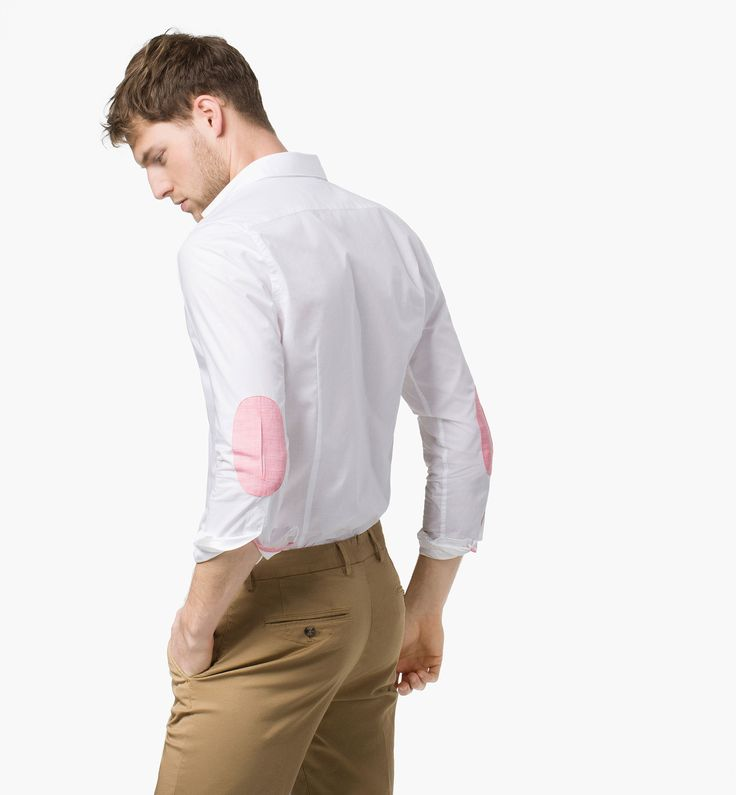 Patterned Slim Fit Shirt With Elbow Patches Men Fashion