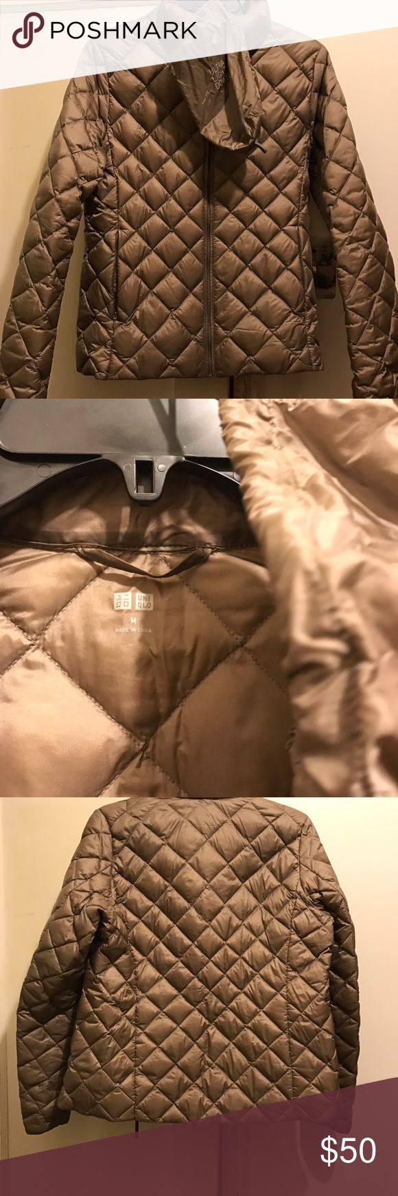UNIQLO jacket Champagne colored with bag/ ultra light down Uniqlo Jackets & Coats Puffers
