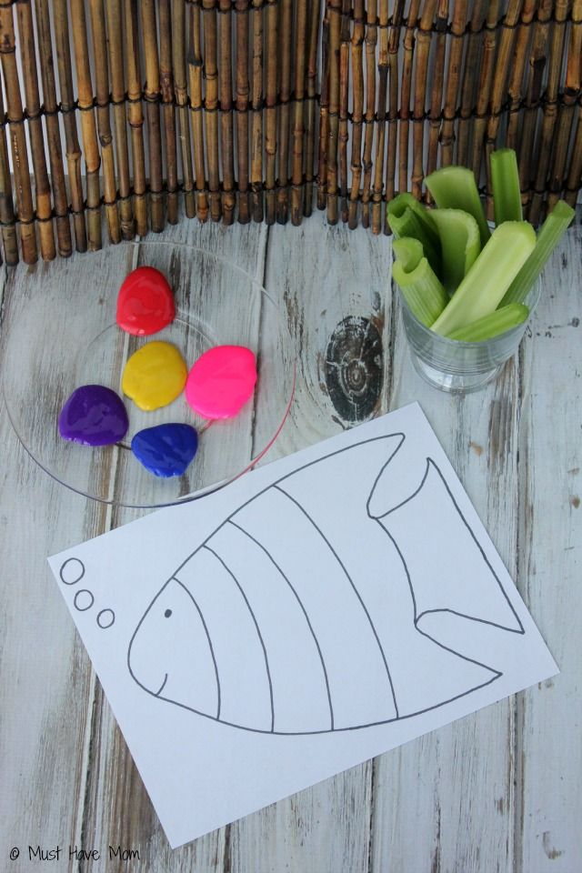Rainbow Fish Celery Painting + Free Printable Rainbow Fish