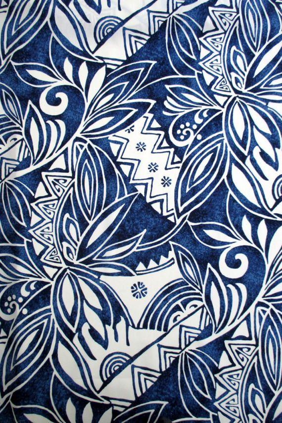 Tela Tapa azul Kona hojas polinesias hawaianas por el patio