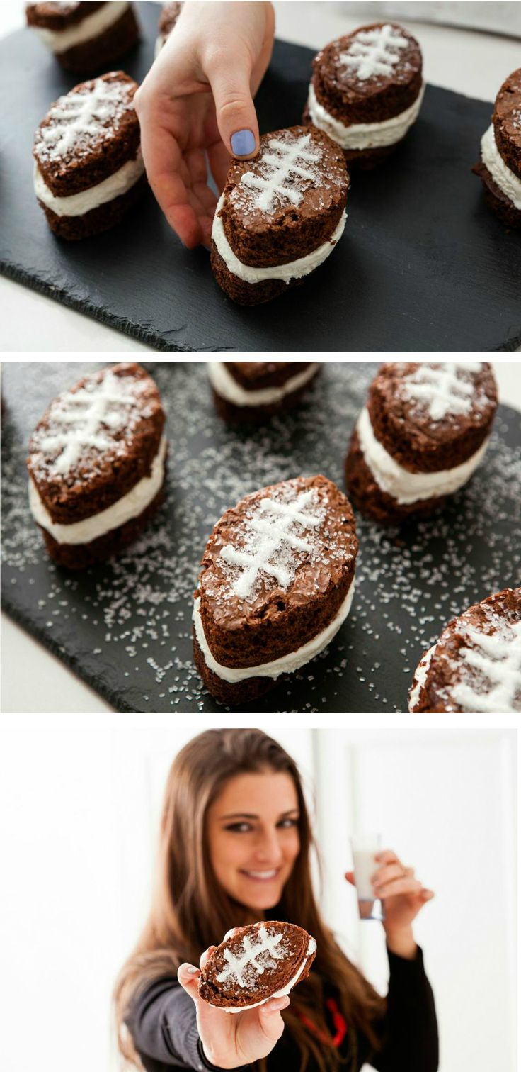 Super Bowl Sunday isn't just about wings and nachos. Don't forget dessert! These individual football brownie ice cream sandwiches are great for parties and easy to make.