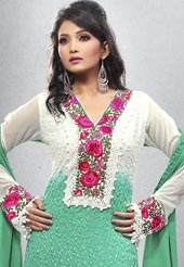 White and sea green faux georgette resham embroidered kameez with sea green shantoon churidar and net dupatta. Shantoon lining is available with this. Unstitch kameez can be customize upto 42 inches. (Slight variation in color possible).