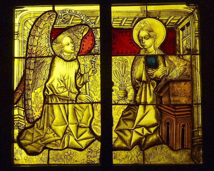 Bleiglasfenster im Musée National du Moyen Âge (Hôtel de Cluny) in Paris; Herkunft: Kölner Werkstatt (?), um 1450; Darstellung: Verkündigung Mariens