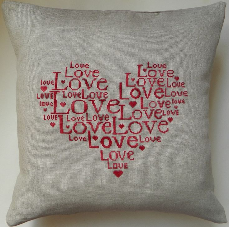 Love Cushion/Pillow Cover Instant Download by ClementinesNeedle
