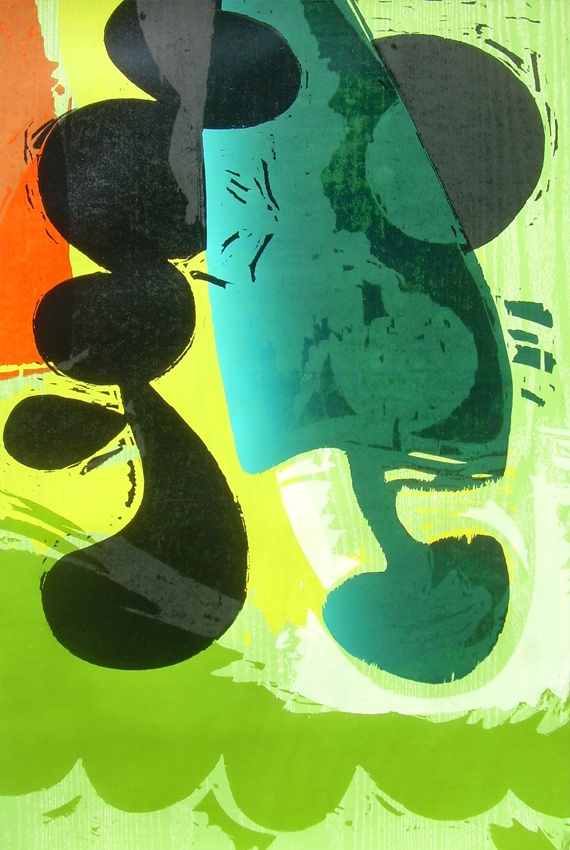 """""""Green Light"""" Woodcut. 52 1/2 x 35"""". Included in the exhibition """"Urban Rattles"""" opening September 15"""