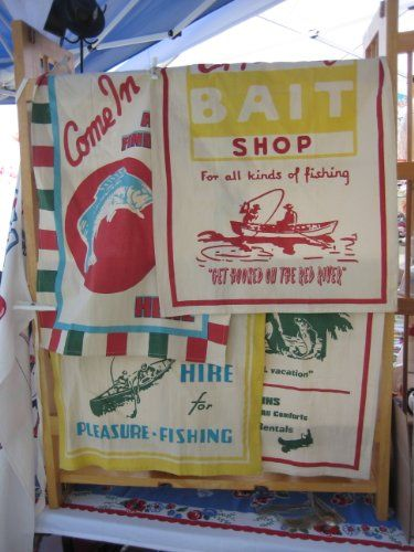 Bait & Tackle Vintage Fishing Ads Camping Towel Set $25.95