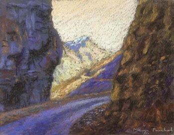Soft pastel painting of a landscape on the way to Nako and Tabo in Himachal Pradesh ( India ). By self taught artist Manju Panchal