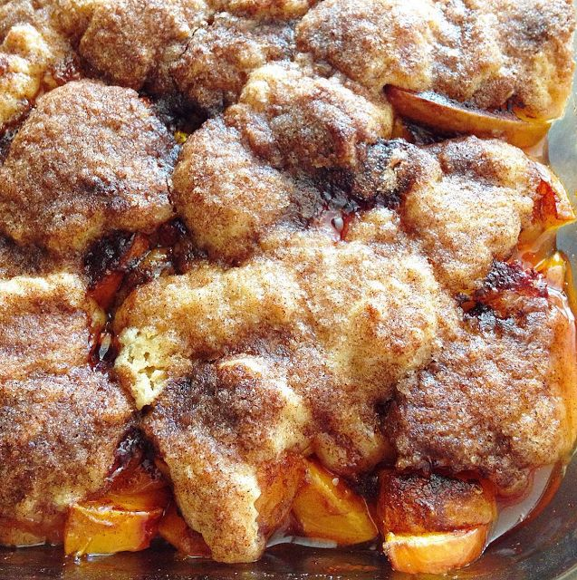 Southern Peach Cobbler with a flaky, buttery, cinnamon sugar crust! get the recipe at barefeetinthekitchen.com