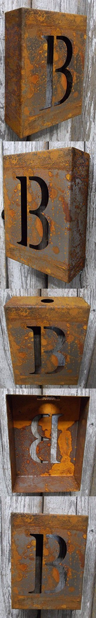 "Fun 8"" x 6"" x 2.5"" Laser Cut Rusted Metal Letter ""B"" Rustic Industrial Wall Shelf Rusty Decor"
