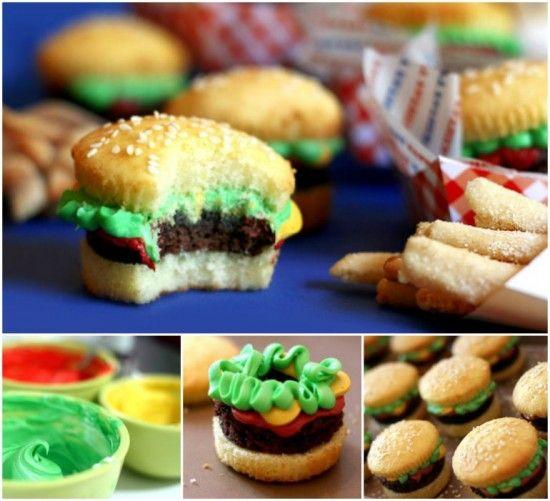 Burger Cupcakes and Fries