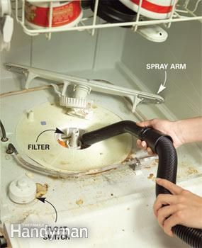 When your dishwasher no longer gets your dishes clean, a food-filled filter is most often to blame. If its clogged, water cant make it to the spray arms to clean the dishes in the top rack. The fix takes two minutes. Simply pull out the lower rack and remove the filter cover inside the dishwasher. (Check your owners manual if you cant spot the filter.) Then use a wet vacuum to clean off the screen.