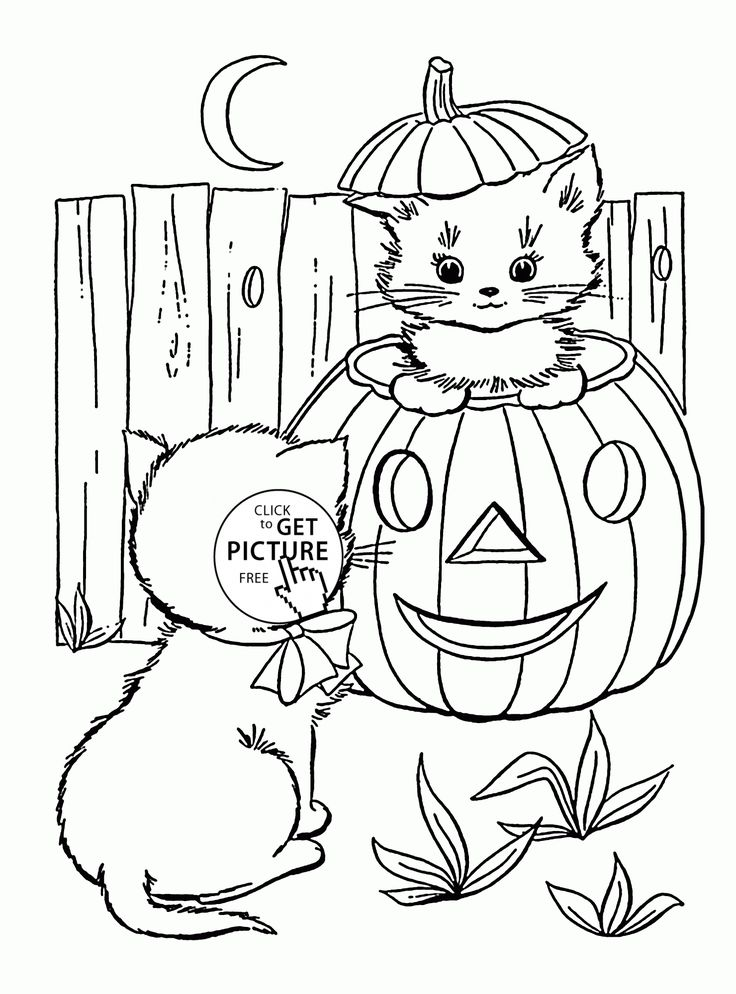cute halloween cats coloring pages for kids pumpkin printables free - Cute Halloween Cat Coloring Pages