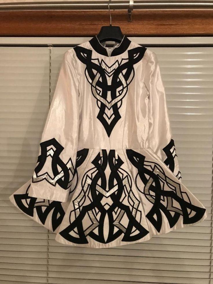 Sublime White Celtic Yarns Irish Dance Dress Solo Costume For Sale