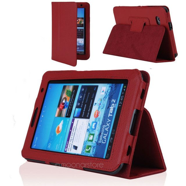 """PDA Protection Covering Cases Folio PU Leather Case Cover Stand For Samsung Galaxy Tab2 7"""" Tablet P3100+pen screen protector"""