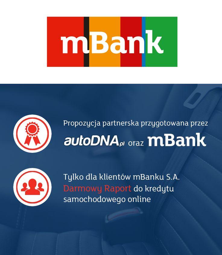 Szanowni Państwo! Miło nam poinformować iż kontynuujemy współpracę z liderem polskiej bankowości elektronicznej, marką mBank S.A. Dziękujemy za zaufanie. Szczegóły oferty promocyjnej pod adresem:  https://www.autodna.pl/blog/dalsza-wspolpraca-autodna/