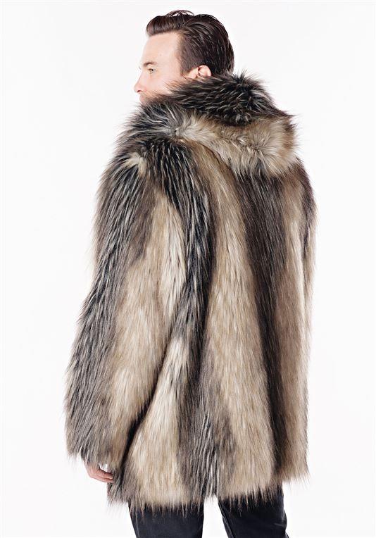 9a78a0216fc9 Men's Pieced Fox Hooded Faux Fur Jacket | Mens Faux Fur Jackets - Donna  Salyers Fabulous Furs