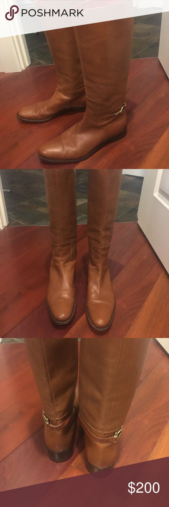Burberry Riding Boots These beautiful sable riding boots with their gold buckles are a wonderfully elegant finish to any ensemble. The boots have a little wear and tear, including a few water stains, as reflected in the images and price. Perhaps a shoe cobbler can bring them back to the height of their glory? Perhaps you like a bit of character in your boots? Please note that Burberry tends to run a bit small. Burberry Shoes