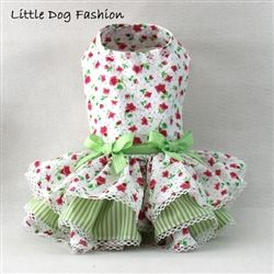 Classic floral dog dress with lace trim http://www.littledogfashion.com/Classic-Pink-Floral-Dresses-for-Dogs-p/classic-pink-floral-dres.htm