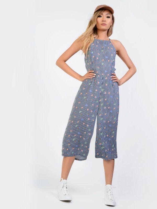 Flower print culotte jumpsuit