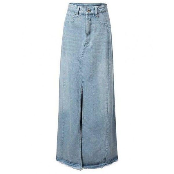 Front Slit Long Denim Skirt ($20) ❤ liked on Polyvore featuring skirts, denim skirt, long denim skirts, blue skirt, long skirts and front slit skirt