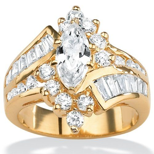 PalmBeach Jewelry 18K Gold over Sterling Silver DiamonUltra Cubic Zirconia Ring $69.95