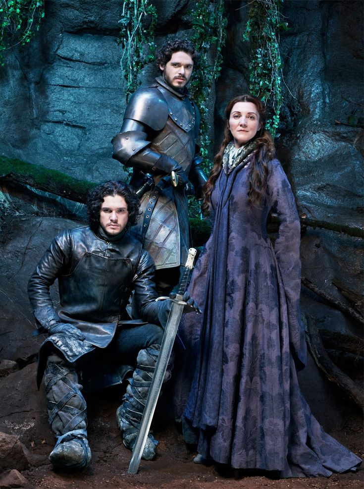 Kit Harington (Jon Snow), Richard Madden (Rob Stark) & Michelle Fairley…