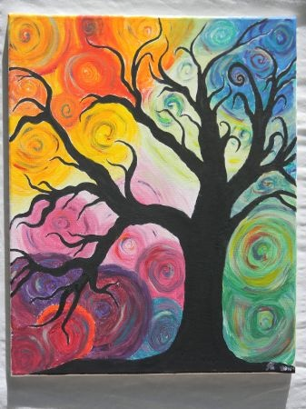 """CRAZY TREE"" I like the idea of a silhouette on a very colorful background"