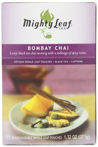 Mighty Leaf Tea, Bombay Chai, 15-Count Whole Leaf Pouches (Pack of 3) - http://teacoffeestore.com/mighty-leaf-tea-bombay-chai-15-count-whole-leaf-pouches-pack-of-3/