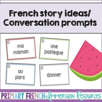 French story writing ideas/Oral conversation prompts! Use these cards to prompt silly stories (oral or written).