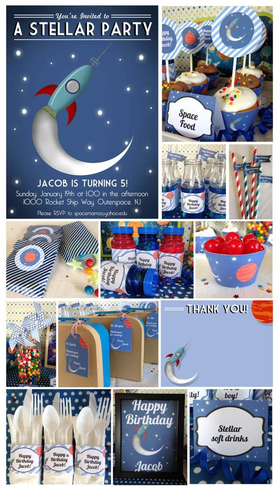 Outer Space Birthday Party Printable by DecoPartyPrintables