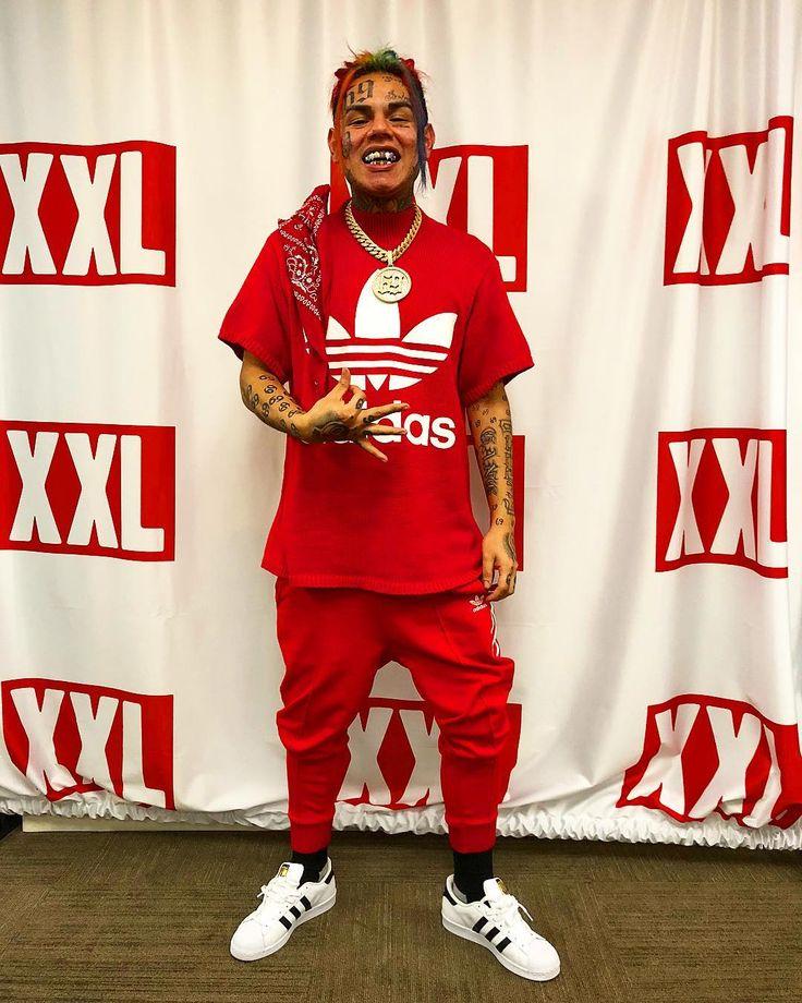 red adidas shirt 6ix9ine